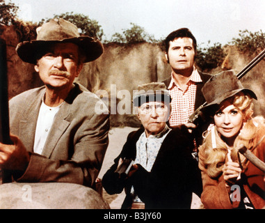 THE BEVERLY HILLBILLIES  US TV series 1962 to 1971 with from left Buddy Ebsen,Irene Ryan, Max Baer Jnr and Donna - Stock Photo