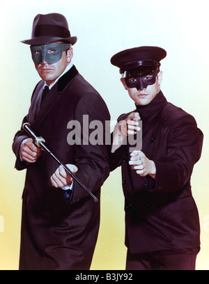 THE GREEN HORNET  - US TV series 1966 to 1967 with Van Williams at left as The Green Hornet and Bruce Lee as Kato - Stock Photo
