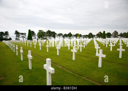 July 2008 - The American Military Cemetery in Colleville sur mer Normandy France - Stock Photo