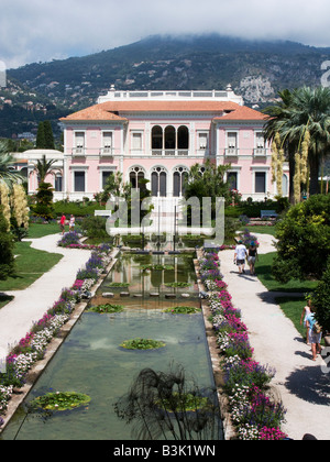 The Gardens and Villa of Ephrussi de Rothschild on Cap Ferrat near Nice, Cote d Azur Provence of France - Stock Photo