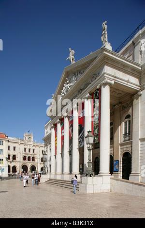 Teatro Nacional de Dona Maria II or National Theatre, Praca Dom Pedro IV, Lisbon, Portugal. - Stock Photo