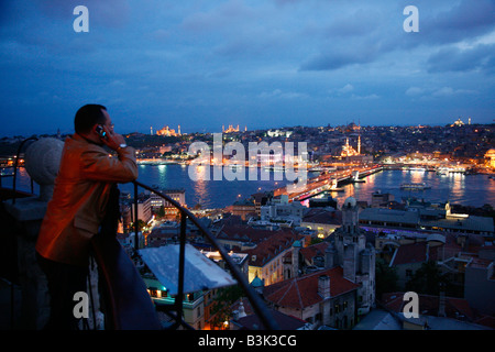 May 2008 - Skyline of Istanbul with a view over the Golden Horn and the Galata bridge Istanbul Turkey - Stock Photo