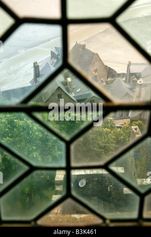 July 2008 - A View from a window at the abbey in Mont St Michel Normandy France - Stock Photo