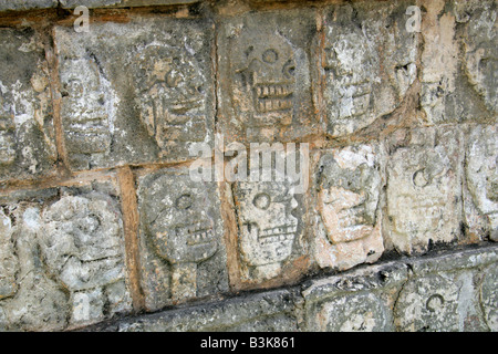 Detail from the Tzompantli Platform of the Skulls, Chichen Itza Archeological Site, Yucatan Peninsular, Mexico - Stock Photo