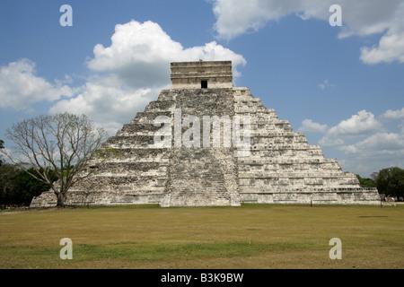 The Castle Pyramid (El Castillo Pyramid) or Temple of Kukulcan, Chichen Itza Archaeological Site, Chichen Itza, - Stock Photo