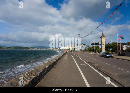 Exmouth seafront and promenade on a sunny summers day Devon England United Kingdom GB Great Britain British Isles - Stock Photo