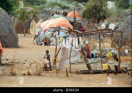 Belet Amin a camp for internally displaced Somalis near the border with Kenya - Stock Photo