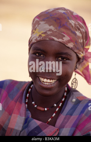 Near Zinder, Niger, West Africa. Young Hausa Woman with Nose Ring. - Stock Photo