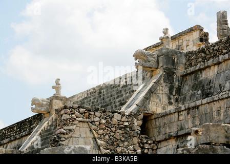 Detail of the Temple of the Warriors, Chichen Itza Archaeological Site, Chichen Itza, Yucatan Peninsula, Mexico - Stock Photo