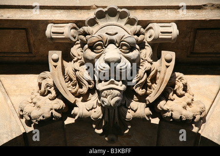 Renaissance Lion from the facade of the Residenzschloss Castle in Dresden, Germany - Stock Photo