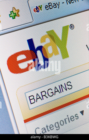 Ebay website splash screen and logo showing search for bargains - Stock Photo