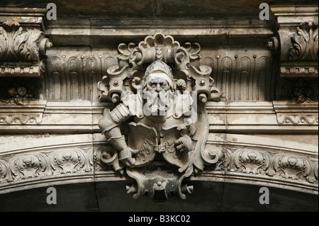 Renaissance key stone from the facade of the Residenzschloss Castle in Dresden, Germany - Stock Photo