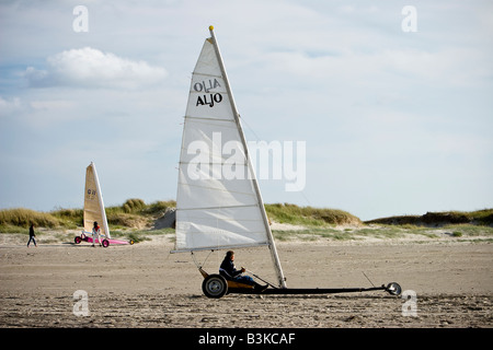 Kitebuggy on St.Peter Ording beach, Schleswig-Holstein, North Germany - Stock Photo