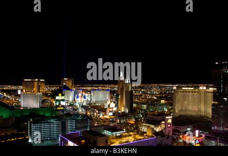 aerial nighttime view of las vegas strip nevada with several casinos visible - Stock Photo