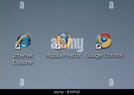 Battle of the browsers concept a desktop screenshot with Internet Explorer Mozilla Firefox and new Google Chrome - Stock Photo