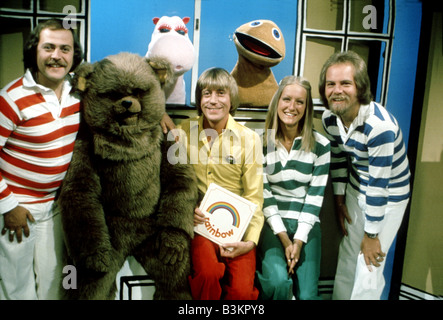 RAINBOW  UK TV childrens programme on UK ITV from 1972 to 1992 - see Description below for names - Stock Photo