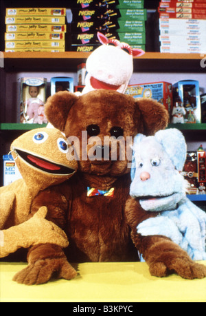 RAINBOW  UK TV childrens programme in it's 1993 format. Clockwise from top   George the Hippo, Cleo the Rabbit, - Stock Photo