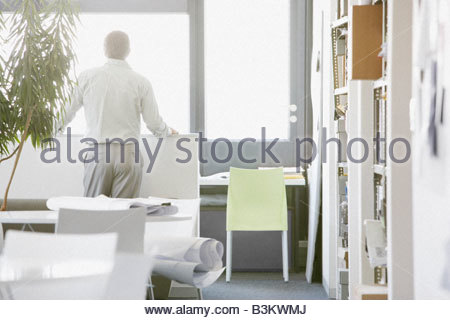 Rear view of businessman in modern office - Stock Photo