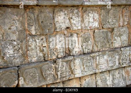 Detail from the Tzompantli Platform of the Skulls, Chichen Itza Archeological Site, Yucatan Peninsular, Mexico - Stock Photo