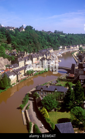 Dinan View from Viaduct over the River Rance - Stock Photo