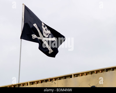 A close up on a pirate flag - Stock Photo
