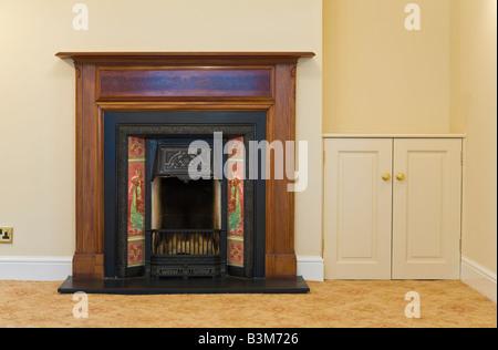 Open Victorian fireplace, PR - Stock Photo