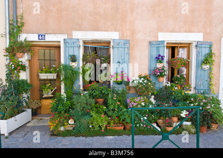 A small patio garden on the pavement outside a terraced house in Aigues Mortes, France. - Stock Photo