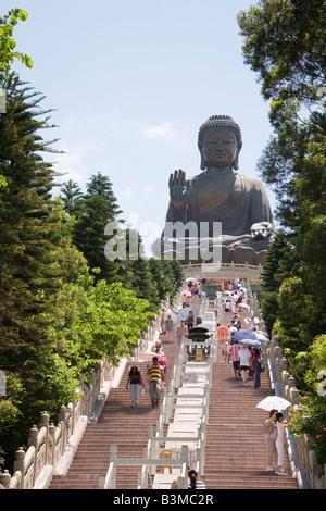 The Tian Tan Buddha statue at Po Lin Monastery Lantau Island Hong Kong - Stock Photo