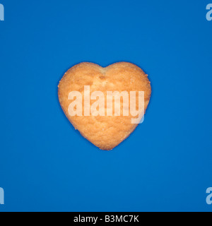 Heart-shaped cookie, elevated view - Stock Photo