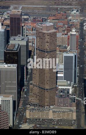 aerial view above Qwest tower Denver Colorado CO - Stock Photo