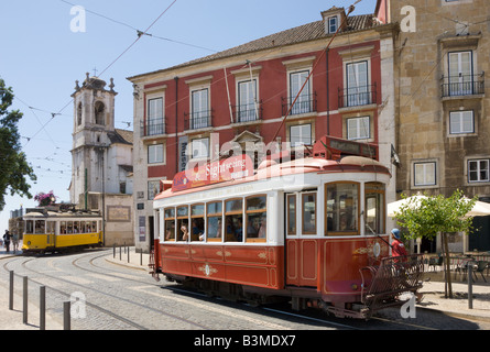 Portugal Lisbon, the Largo de Santa luzia, Alfama district, with trams and the igreja de Santa Luzia church - Stock Photo