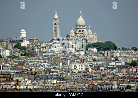 France Paris Looking over the rooftops of Paris towards Sacre Coeur - Stock Photo
