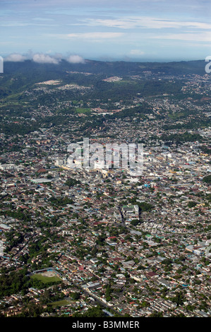 aerial above San Salvador, El Salvador central Latin America - Stock Photo