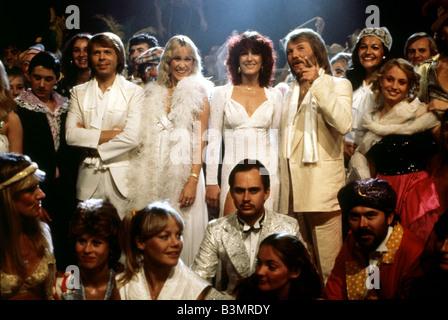 ABBA Swedish pop group  from left Bjorn Ulvaeus, Agnetha Faltskog, Frida Lyngstad and Benny Anderson - Stock Photo