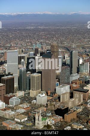 aerial view above Denver Colorado CO USA - Stock Photo