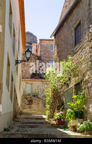 Portugal, Beira Baixa, central Portugal, district of Castelo Branco, narrow street in Monsanto - Stock Photo