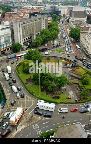 Aerial view looking down on traffic and St James Barton roundabout Bristol UK - Stock Photo