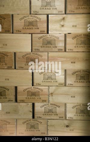 France, Bordeaux, Medoc, Crates of wine at prestigious Chateau Margaux - Stock Photo