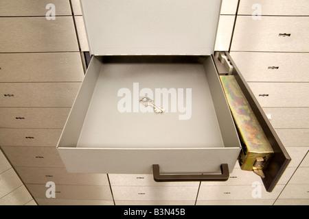 Open safety deposit box - Stock Photo