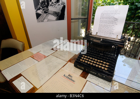 An old typewriter with a letter from Hermann Hesse in a museum reconstituting the German writer's working room in - Stock Photo
