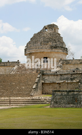 The Caracol also Called the Observatory, Chichen Itza, Yucatan Peninsular, Mexico - Stock Photo