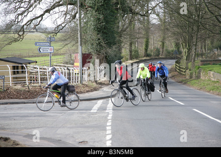 Cyclists on Leisure Drive near Norley,Cheshire,England,UK - Stock Photo
