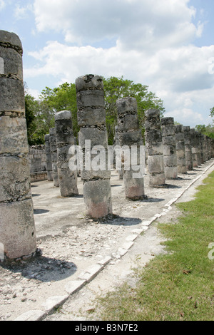 Western Colonnade, Chichen Itza Archaeological Site, Chichen Itza, Yucatan Peninsula, Mexico - Stock Photo