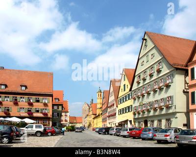 Deutschland, Bayern, Dinkelsbuehl, Old town of Dinkelsbuehl, Bavaria, Germany - Stock Photo