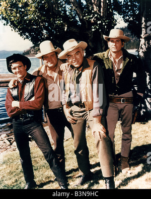 BONANZA  US TV series clockwise from left: Adam Cartwright, Dan Blocker, Lorne Greene and Michael Landon - Stock Photo