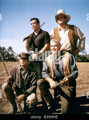 BONANZA  US TV series clockwise from top left: Adam Cartwright, Dan Blocker, Lorne Greene and Michael Landon - Stock Photo