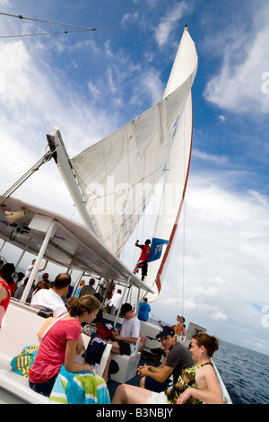 People sailing on a yacht  in the Caribbean, St Lucia, 'West Indies' - Stock Photo