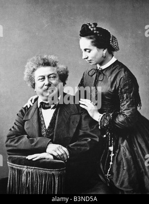 ALEXANDRE DUMAS French writer 1802 to 1870 with wife Marie about 1860. His most famous novel is The Three Musketeers - Stock Photo