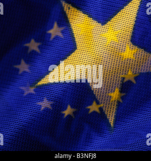 european flag, double exposure, hole flag single star - Stock Photo
