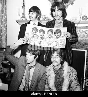 Beatles files 1967 The Beatles promote new album Sergeant Pepper John Lennon Paul McCartney Ringo Starr George Harrison - Stock Photo
